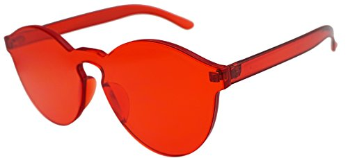 J&L Glasses Transparent Rimless Ultra-Bold Candy Color sunglasses (Red, - Color Candy Lenses