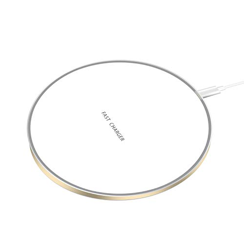 DIHUA 10W Fast Wireless Flat Round Charger Qi-Certified Wireless Fast Charge Ultra-Thin Round Wireless Charger Compatible iPhone X/XR/XS/8/8 Plus and Samsung Galaxy S9//S8//S7 (White&Golden)