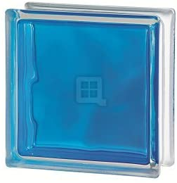 Quality Glass Block 7.5 x 7.5 x 3 Brilly Wave Blue Color Glass Block