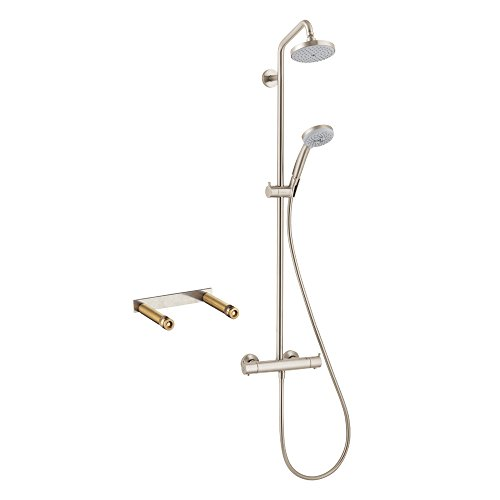 Exposed Thermostatic Bath Shower (Hansgrohe KS27169-16181BN-2 Croma Green Showerpipe, Thermostatic Basic Set Included, Brushed Nickel)