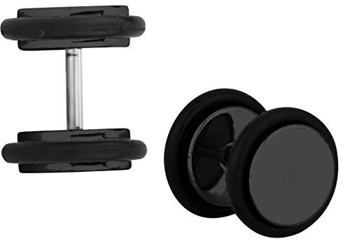 Ear Plug Titanium - 16g Cheater Plugs: 0g 8 mm Surgical Steel Black Titanium IP Plated Fake Plug Earrings