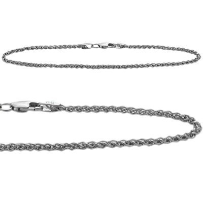 10K White Gold Wheat Style 10 Inch Anklet by Elite Jewels