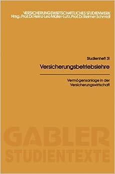 Book Verm????gensanlage in der Versicherungswirtschaft (German Edition) by Malte von Bargen (1982-01-01)