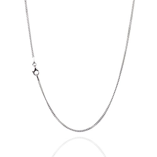 (925 Sterling Silver 1.55 mm Diamond-Cut Cuban-Curb Chain Necklace with Pear Shape Clasp-Rhodium)