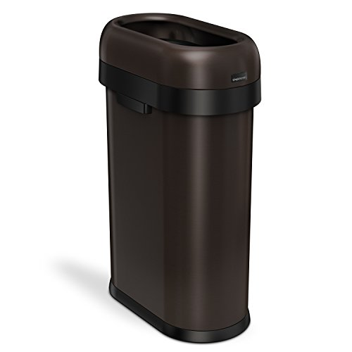 simplehuman Slim Open Top Trash Can, Commercial Grade, Heavy Gauge Dark Bronze Stainless Steel, 50 L / 13 Gal by simplehuman