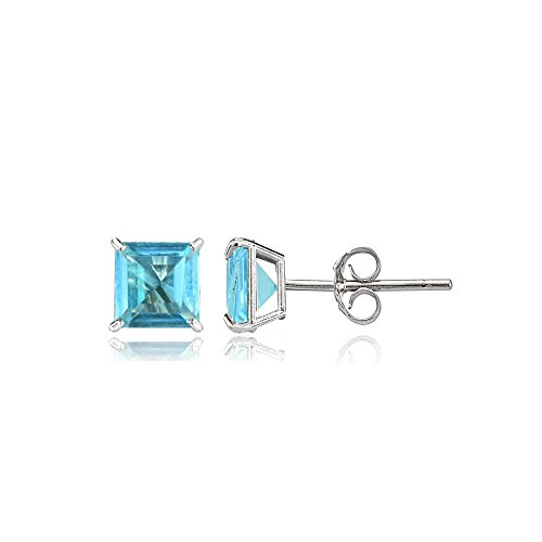 Bria Lou 14k White Gold Swiss Blue Topaz Gemstone 4mm Square-Cut Solitaire Stud Earrings (Blue Ring Topaz Square Solitaire)
