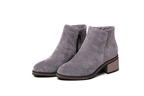 Donna Basso Largo E Grey Da Boots Stivaletti Tacco Alti Women's Con wIq1Tz