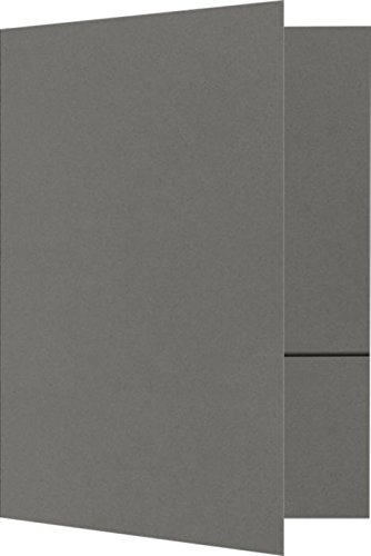 6 x 9 Small Presentation Folders - Two Pockets- Smoke | Perfect for Pamphlets, Stepped Inserts, Conferences, Presentations | 100lb. Paper | SPF-22-25