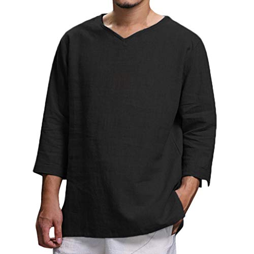 Willow S Men's Summer Pure Cotton and Hemp Top Comfortable Hippie Blouses Crew Athletic T-Shirts Black