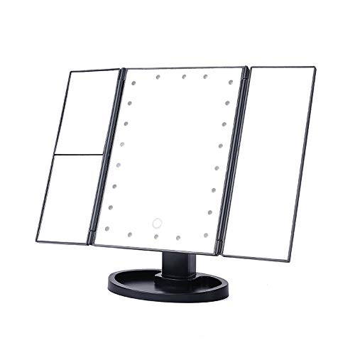 Makeup Mirror, Triptych Magnifying Mirror with 22pcs LED, Illuminated Mirror 3X 2X -