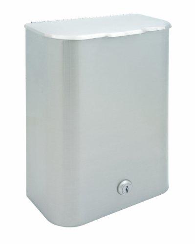 Bradley 4781-150000 Standard 22 Gauge Stainless Steel Surface Mounted Napkin Disposal, 1.25 Gallon Capacity, 8