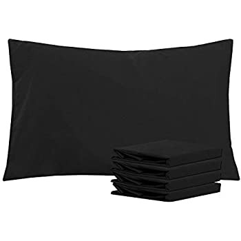NTBAY Queen Pillowcases Set of 4, 100% Brushed Microfiber, Soft and Cozy, Wrinkle, Fade, Stain Resistant, with Envelope Closure, Black
