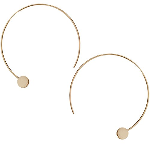 Humble Chic Disc Hoops - Modern Upside Down Curved Open Circle Threader Earrings, Gold-Tone
