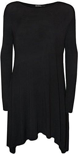WearAll Women's Plus Size Flared Long Sleeve Swing Dress Top - Black - US 20-22 (UK 24-26)