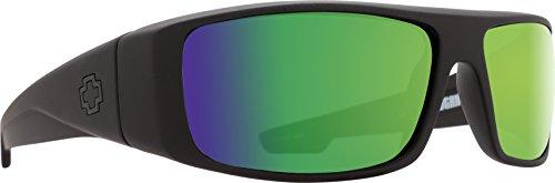 Spy Optic Logan Sunglasses with Happy Lens and Trident Polarization, Matte Black/Happy Bronze Polar with Green ()