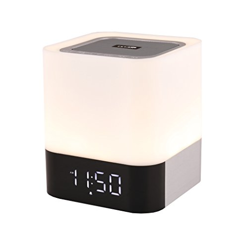 TSTAR,Wireless Bluetooth 4.0 Speaker Portable HIFI Stereo with Led Light Lamp and Alarm Clock, Hands-free Calls,Quality Sound, Touch Sensor, MP3 Player, Support SD TF Card, 3.5mm AUX Jack (White)