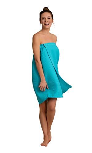 Premium Turkish Cotton Women's Lightweight Knee Length Spa/Bath Waffle Body Wrap with Adjustable Hook-and-Loop Tape (Aqua)