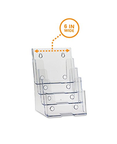 Postcard Organizer - SourceOneOrg Bi-fold 6 Inch 4 Tier Brochure Holder
