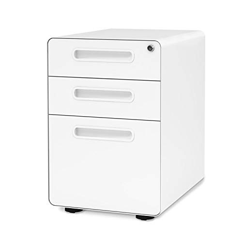 - DEVAISE 3-Drawer Mobile File Cabinet with Anti-tilt Mechanism,Legal/Letter Size (White)