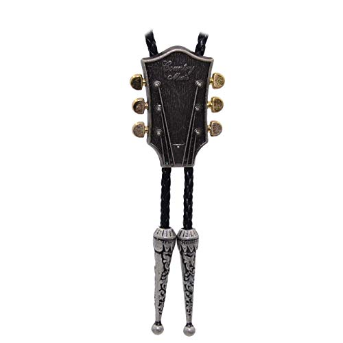 Kissvian Men's Vintage Silver Guitar Head Bolo Bola Tie Cowboy Shirt Necklace ()