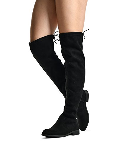 Womens Tall toe Flat High By Drawstring Almond Boots Over Low Black 06 Tie Heel Knee the Jessie LUSTHAVE zOOqwtr