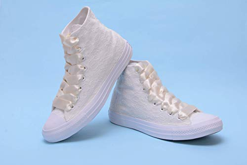 Ivory High Top Wedding Sneakers For Bride, Lace Bridal Trainers, Awesome Bride Tennis Shoes