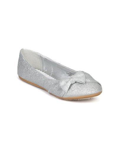 Price comparison product image Little Angel Teshi-400E Glitter Bow Decor Ballet Loafer Flat (Toddler/Little Girl/Big Girl) - Silver (Size: Little Kid 12)