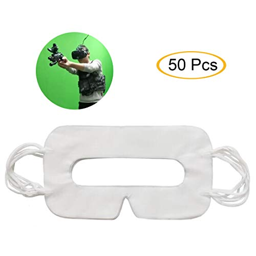White universal disposable VR eye mask for better sweat absorption, VR device padded face protection film. (50 pcs)