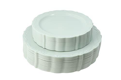 Disposable Plastic Plates Set, Vintage Party Plates, Light Green 60 Pack (30 Guest) 30 x 10.25