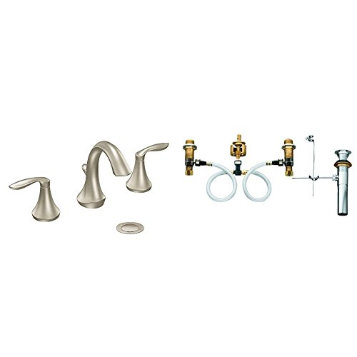 Moen Eva Two-Handle High-Arc Bathroom Faucet Bundle (Brushed Nickel) complete with Moen 9000 Widespread Lavatory Rough-In Valve with Drain Assembly (High Arc Widespread Lavatory Faucet)