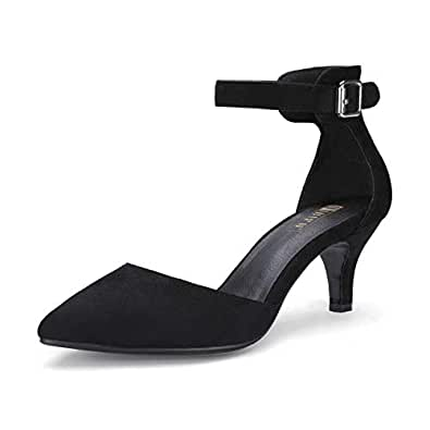 IDIFU Women's IN3 D'Orsay Pointed Toe Ankle Strap Mid Heel Low Kitten Dress Pump Shoes Black Size: 5