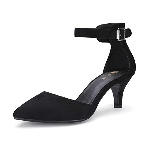 IDIFU Women's IN3 D'Orsay Pointed Toe Ankle Strap Mid Heel Pump (Black Suede, 10 B(M) ()