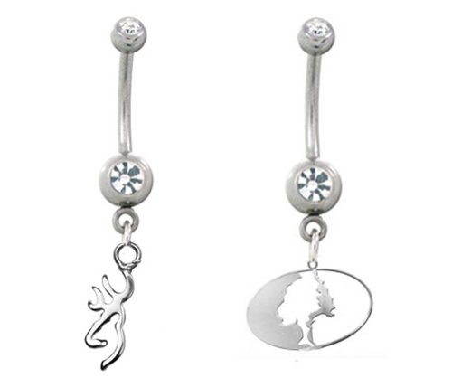 - Licensed Browning Charm Belly Button Ring & Mossy Oak Belly Ring Set