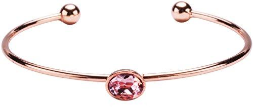 H2Z Made with Swarvoski Crystal Elements - Pink Oval Shaped Rose Gold Cuff (Element Crystal Bracelet)