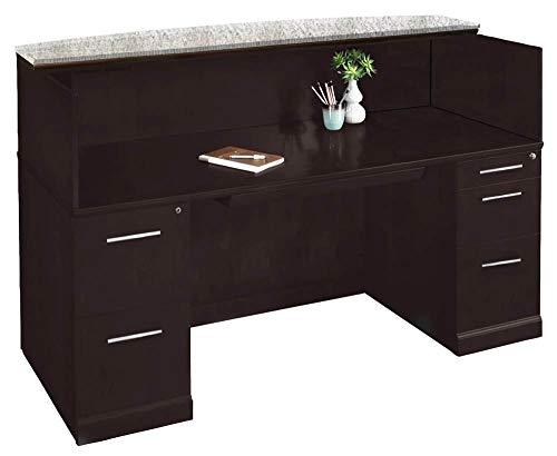 (Mayline SRCDMESP Sorrento Reception Station Desk with Granite Counter, 1 PBF and 1 FF Pedestal, Espresso Veneer)