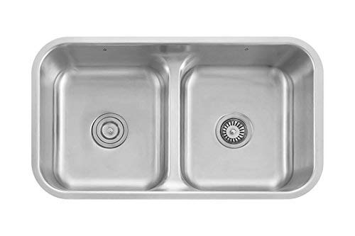 Z Sinks Pavia32 Z Series Stainless Steel Kitchen Double Sink, Undermount 50/50 Low Divide Double Bowl With - Double Under Mount Sink Kitchen