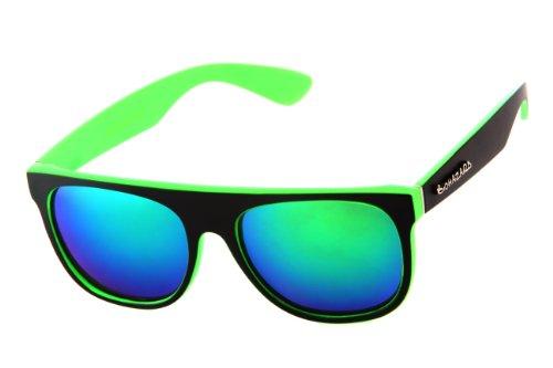 Biohazard Men's Flat Top Square Green with Mirror Lens 55mm - Biohazard Sunglasses