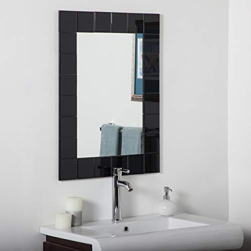 Decor Wonderland Montreal Black Modern Bathroom Mirror - Silver - -