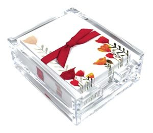 Open Tulips Acrylic Desk Note Set, Memo Sheets and Acrylic Holder, 150 Note Papers, 3.25 x 4.25