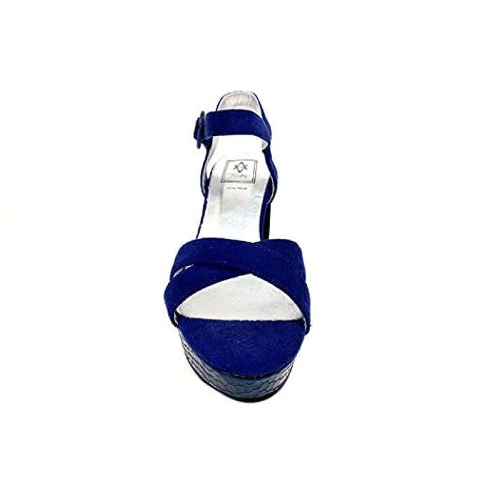 Sandalo Python Blu Sandali Cerimonia Donna Tacco Alto Plateau Particolare Con Serpente Elegante Scarpe Shoes Blue Woman Sandal High Heel Particular Elegant Snake Vegan Leather