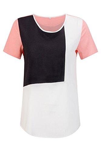 Beauty7 Camisetas Mujer Casual Verano Colores Mezclados Cuello Redondo Mangas Corta Sudadera Parte Superior Tops Tee Camisa Blusa T Shirt Ocasionales Negro