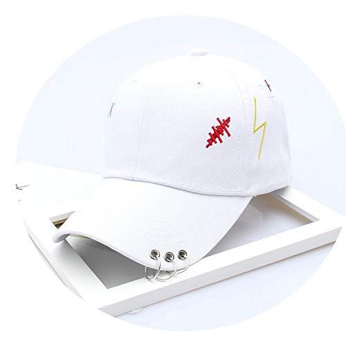 メンズ ソリッドカラー アイアンリングインテリアコットン帽子 シンプルな野球帽 ユニセックス,白