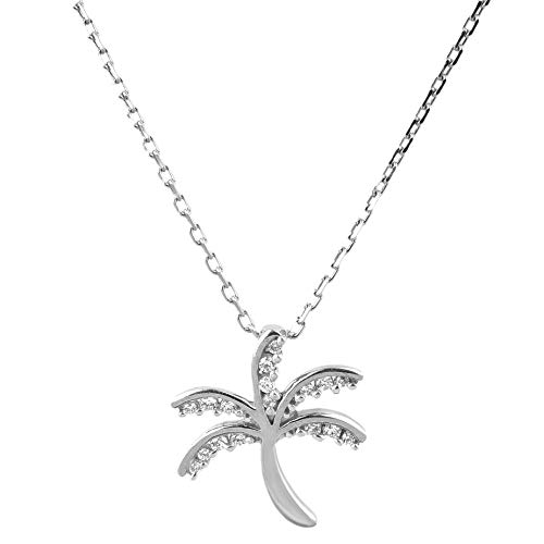 /10 Carat (HI Color, I2 Clarity) Palm tree Pendant Studded with Diamonds for Women ()
