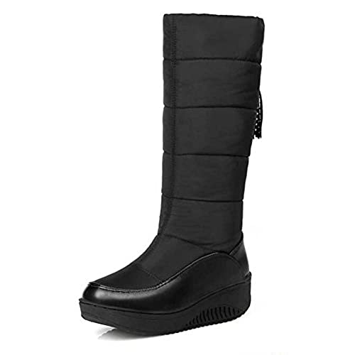 Women's Warm Solid With Tassel Faux Fur Lined Mid Calf Platform Mid Wedge Heel SnowBoots