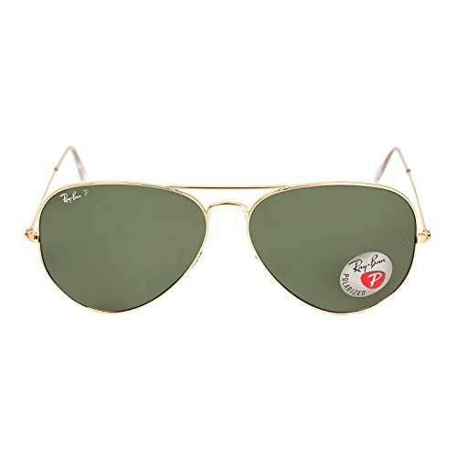New Ray Ban RB3025 001/58 Aviator Arista/Crystal Green Lens 62mm Polarized Sunglasses