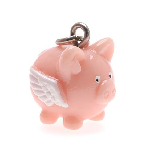 Hand Painted 3-D Flying Pig Charm Lightweight 17mm ()