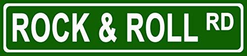 Rock Roll Street - Makoroni - Rock & ROLL Music Novelty Street Sign Aluminum Metal 4x18 inc