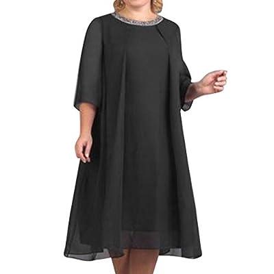 RAINED-Women Casual Long Dress Chiffon Plus Size Maxi Dress Solid Color Three Quarter Sleeve Dress Pleated Swing Dress
