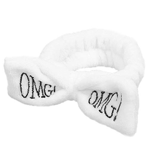 Womens Butterfly Bow Hair Band OMG Letters Wash Headband Girls Hair Accessories (Color - White)