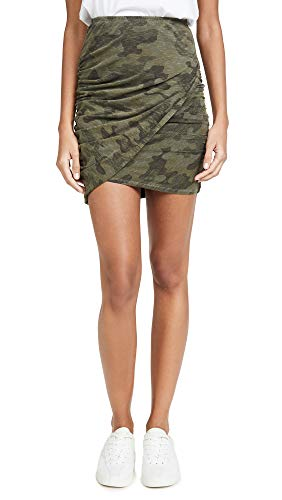 (SUNDRY Women's Camo Crossover Skirt, Pigment Hunter, Green, Print, 0)